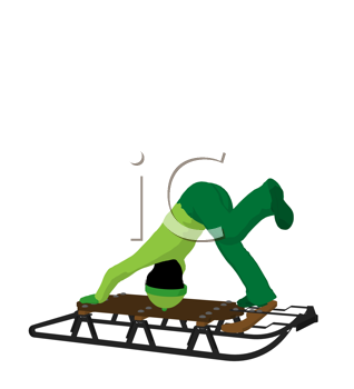 Royalty Free Clipart Image of a Boy on a Sled