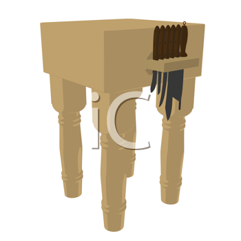 Butchers block with knives on a white background