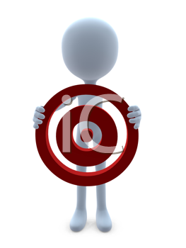 Royalty Free Clipart Image of a 3D Man With a Target