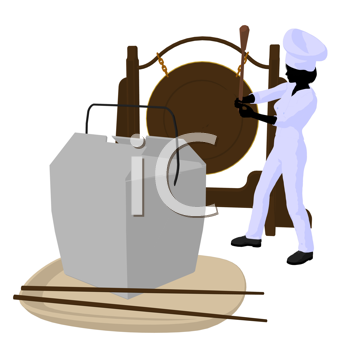 Royalty Free Clipart Image of a Chef With a Gong and a Takeout Container