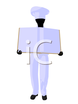 Chef  holding a blank object silhouette on a white background