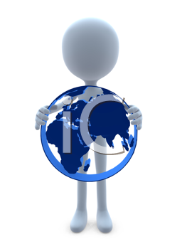 Royalty Free Clipart Image of a 3D Guy With a Globe