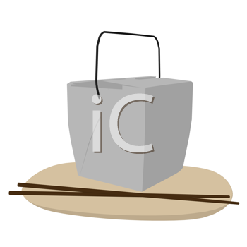 Royalty Free Clipart Image of a Takeout Container, Chopsticks and a Plate