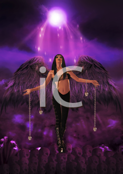 Gothic angel holding silver skulls and standing on skulls