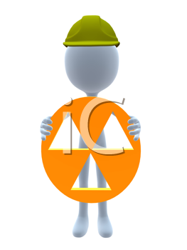 Royalty Free Clipart Image of a 3D Guy in a Hardhat Holding a Hazard Sign