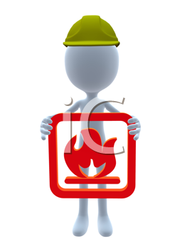 Royalty Free Clipart Image of a Guy in a 3D Hat Holding a Fire Sign