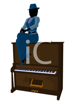 Royalty Free Clipart Image of a Woman With a Piano