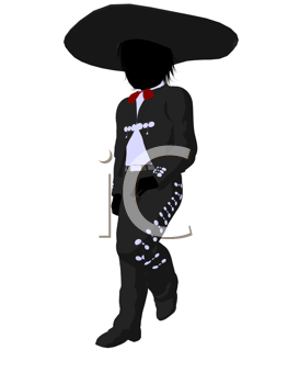 Royalty Free Clipart Image of a Mexican Boy Wearing a Sombrero