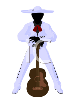 Royalty Free Clipart Image of a Mexican Man With a Guitar