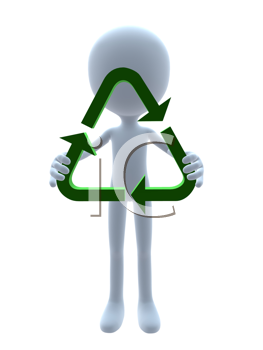 Royalty Free Clipart Image of a 3D Guy With a Recycling Symbol