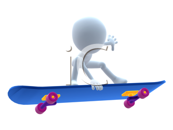 Royalty Free Clipart Image of a 3D Guy on a Skateboard