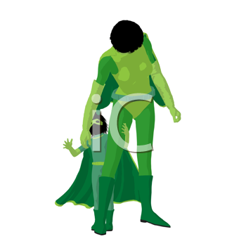 Royalty Free Clipart Image of a Superhero Mother and Daughter