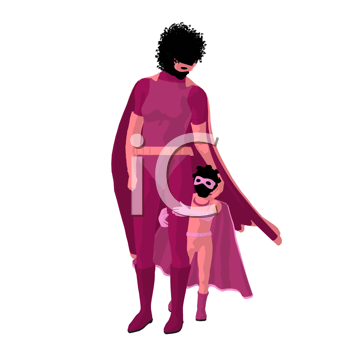 African american super hero mom with child silhouette on a white background