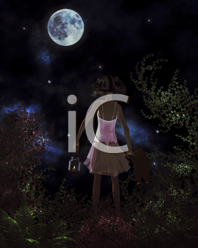 Little girl finding her way home by the light of the moon