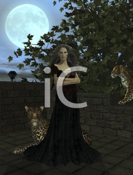 Royalty Free Clipart Image of a Woman Standing With Leopards and Crows