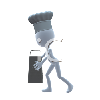 Royalty Free Clipart Image of a Chef Holding a Grater