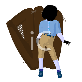 Royalty Free Clipart Image of a Girl With a Ball Glove