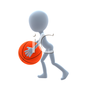 Royalty Free Clipart Image of a Man With a Basketball