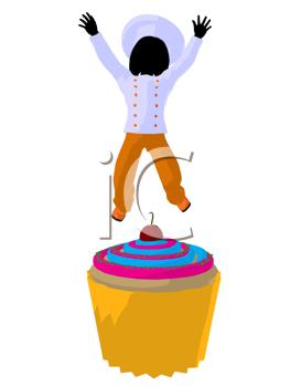 Royalty Free Clipart Image of a Child Chef on a Cupcake