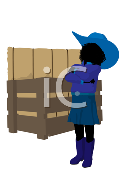 Royalty Free Clipart Image of a Little Cowgirl Beside a Crate