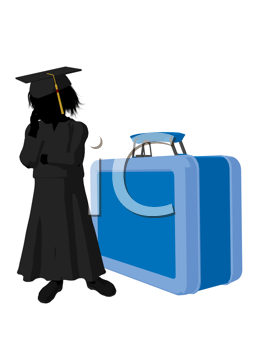 Royalty Free Clipart Image of a Graduate Beside a Large Lunchbox