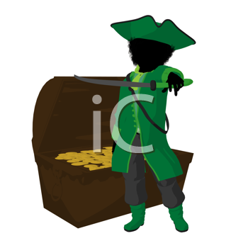 Royalty Free Clipart Image of a Little Pirate and a Treasure Chest