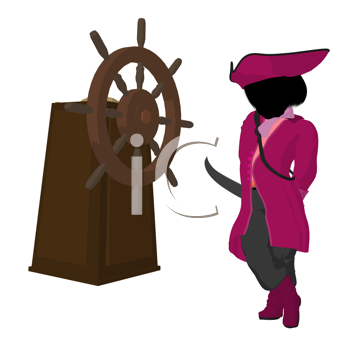 Royalty Free Clipart Image of a Girl Pirate With a Steering Wheel