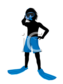 Royalty Free Clipart Image of a Boy Wearing a Snorkel Mask