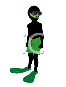 Royalty Free Clipart Image of a Boy Going Snorkelling