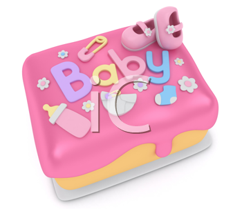 3D Illustration of a Cake for a Baby Girl Shower