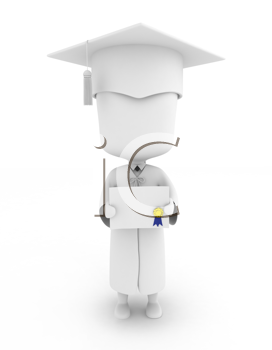 3D Illustration of a Graduate Showing His Certficate