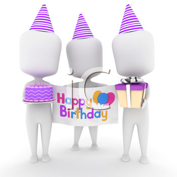 3D Illustration of a Group of Men Carrying Birthday Presents