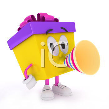 3D Illustration of a Gift Character Using a Paper Trumpet