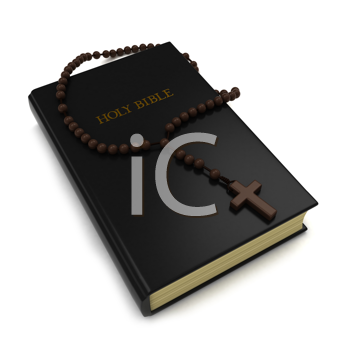 3D Illustration of a Bible and a Rosary