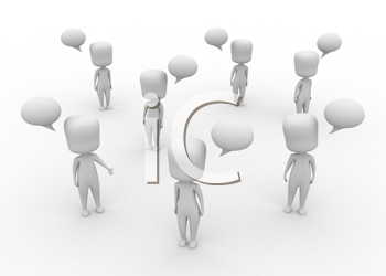3D Illustration of a Group of People Speaking Simultaneously