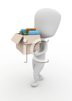 3D Illustration of a Man Carrying a Box Full of Books