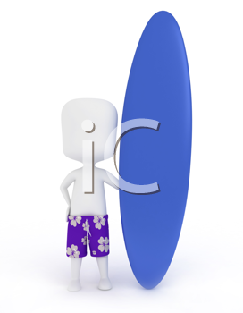 3D Illustration of a Man with Surf Board