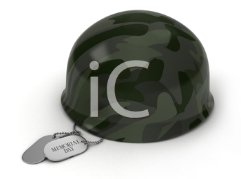 3D Illustration of a Military Helmet and Dog Tags