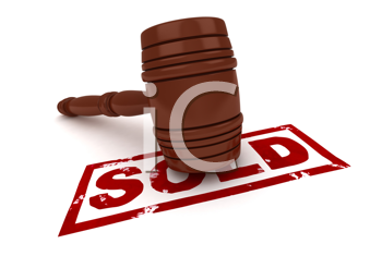 3D Illustration of a Gavel with the Word Sold Written Under it