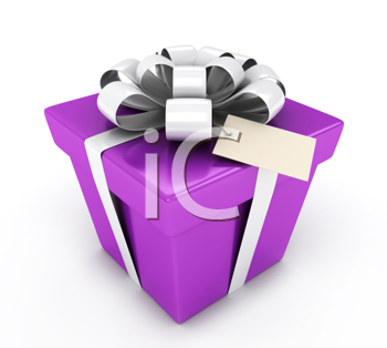 3D Illustration of a Gift with a Blank Card Attached