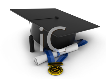 3D Illustration of a Graduation Cap, Ribbon, and Diploma