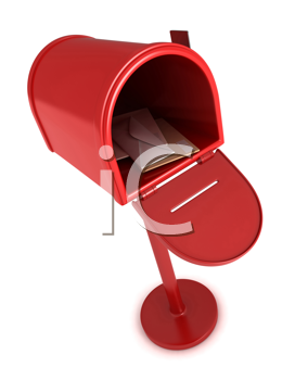 3D Illustration of an Open Mailbox with Letters Inside