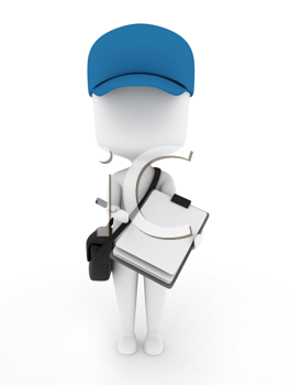3D Illustration of a Delivery Guy presenting Paper for Signing
