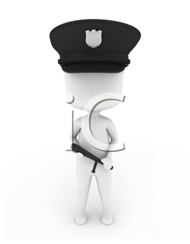 3D Illustration of a Cop Holding a Baton