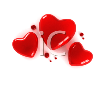 3D Illustration of Three Little Red Transparent Hearts