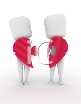 3D Illustration of a Man and Woman with Pieces of Puzzle