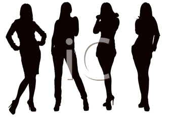 Silhouette of a young posing woman