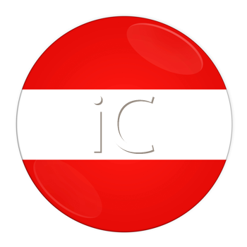 Abstract illustration: button with flag from austria country