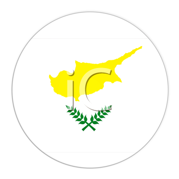 Abstract illustration: button with flag from Cyprus  country