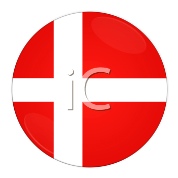 Abstract illustration: button with flag from Denmark country